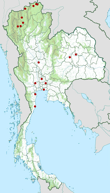 Distribution map of Eurasian teal, Anas crecca in Thailand