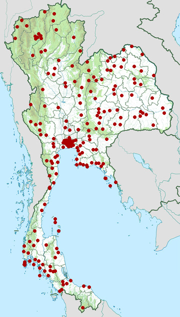 Distribution map of Golden tree snake, Chrysopelea ornata in Thailand