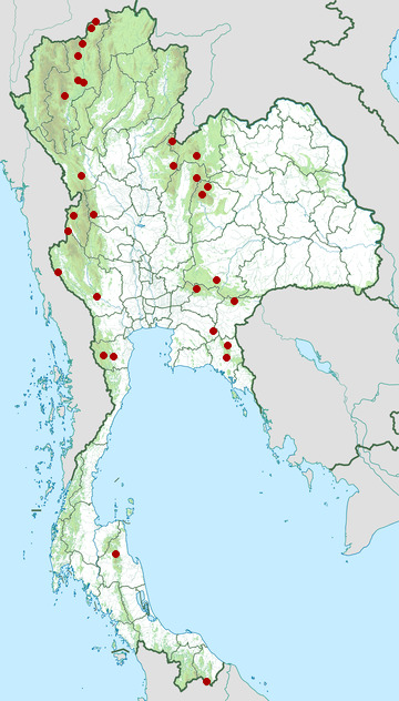Distribution map of Red-headed trogon, Harpactes erythrocephalus in Thailand