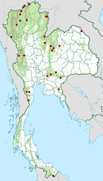 Distribution map of Long-tailed broadbill, Psarisomus dalhousiae in Thailand
