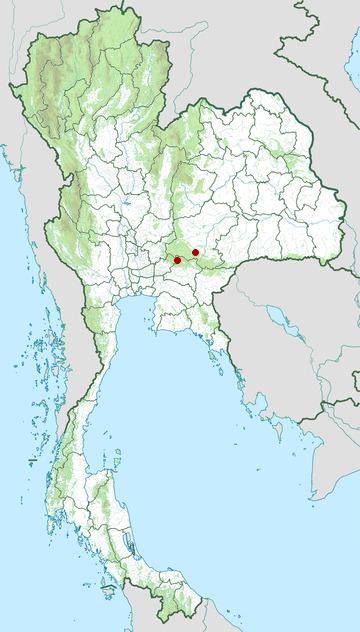 Distribution map of Gibson's wolf snake, Lycodon gibsonae in Thailand