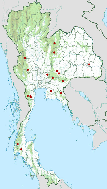 Distribution map of Berdmore's ground squirrel, Menetes berdmorei in Thailand