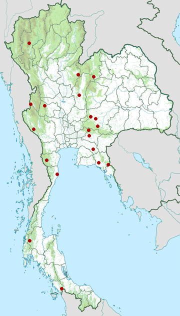 Distribution map of Heymons' narrow-mouthed frog, Microhyla heymonsi in Thailand