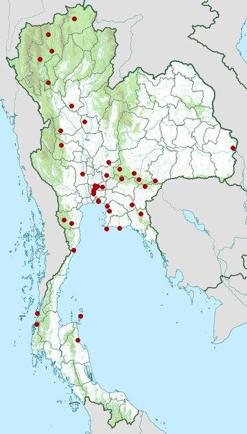 Distribution map of Red-breasted parakeet, Psittacula alexandri in Thailand