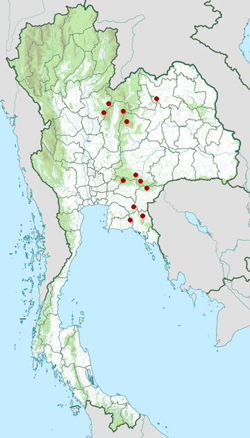 Distribution map of Siamese fireback, Lophura diardi in Thailand